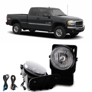 Clear Bumper Mounted Fog Lights Wiring Switch Bulb Kit For 03 04 Gmc Sierra 2500