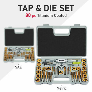 80 Piece Metric And Standard Tap And Die Set Sae Metric Hand Threading Tool Kit