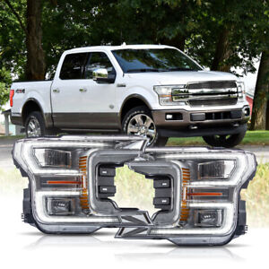 Vland Chrome Full Led Headlights Sequential For 18 20 Ford F 150 King Ranch