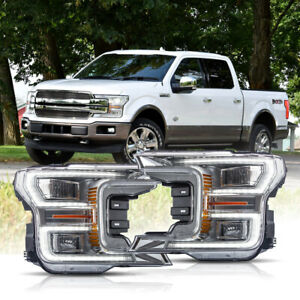 Vland Chrome Full Led Headlights Sequential For 18 20 Ford F 150 Lariat
