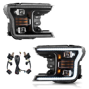 Modded Black Full Led Headlights W Sequential Turn Signal For 18 20 F 150