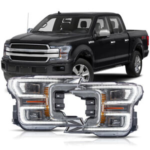 For 18 20 F150 Lariat Chrome Full Led Reflector Switchback Sequential Headlights