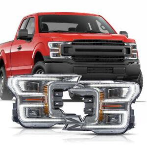 For 18 20 F150 Xl Chrome Led Reflector Switchback Drl Bar Sequential Headlights