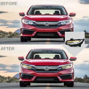 Vland Led Headlights With Drl Sequential Turn Signal For 16 18 Honda Civic