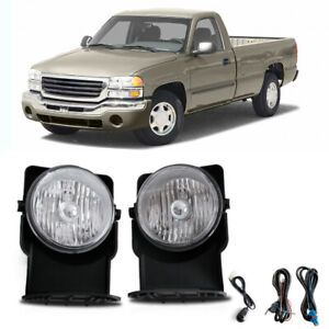 For 03 04 Gmc Sierra 2500 Base Sle Slt Wt Bumper Fog Lamps Kit Direct Replacment