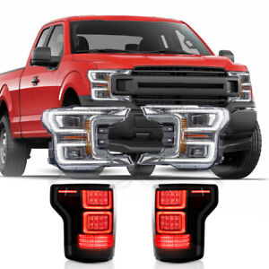 For 18 20 F150 Chrome Reflector Sequential Headlight Smoke Fiber Optic Taillight