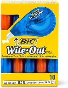 Hot Bic Wite out Brand Ez Correct Correction White Tape 10 Count