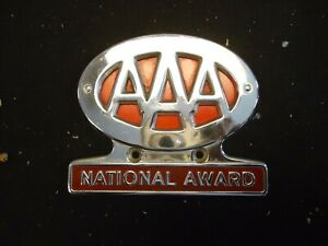 Original 1950s Aaa Auto Emblem Badge Vintage Gm Ford Chevy Plate Topper