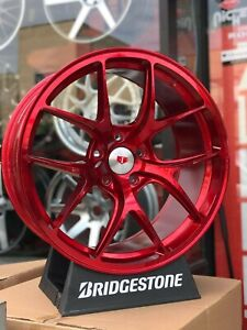 19 Staggered Red F Style Concave Wheels Rims Fits 5x114 3 Jdm G35 G37