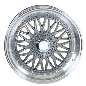 19 Staggered Gunmetal Rs Style 2 Step Lip Rims Wheels Fits Vw Volkswagen 5x112