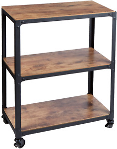 Rolling Utility Bar Cart Table Printer Storage Stand Home Office Kitchen Shelves