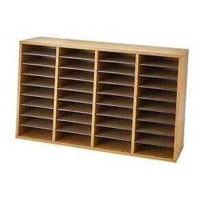 Wood Adjustable Literature Organizer 36 Compartment 9424mo Medium Oak