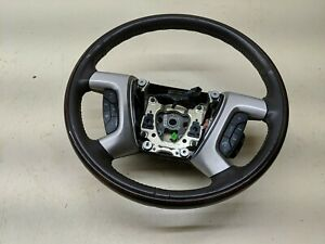 07 14 Cadillac Escalade Wood Grain Steering Wheel With Leather