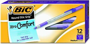 Bic Round Stic Grip Xtra Comfort Ballpoint Pen Medium 1 2mm Purple 12 Count