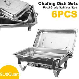 Catering Stainless Steel Chafer Chafing Dish Sets 6 Pack 8qt Buffet