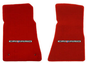 New Red Floor Mats 2016 2021 Camaro Embroidered Script Logo Set Of 2 Front
