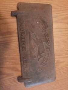 Antique John Deere Z412h Cast Iron Tool Box Cover Horse Drawn Equipment Nice