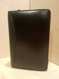 Day Runner Running Mate Edition Black Leather Zip Planner Organizer 8 5 x5 5 x1