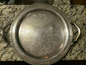 Vintage Oneida Silver Plated Ornate 14 Round Serving Tray Platter Patina
