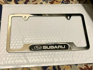 For Subaru Sport Front Rear License Plate Frame Cover Silver Stainless Steel