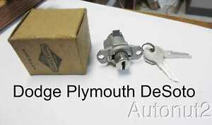 1946 1947 Dodge Plymouth Desoto Accessory Glove Box Lock Nos With Keys 1946 1947