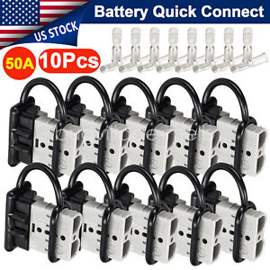 10pcs 50a Battery Quick Connect Disconnect Electrical Plug 6 8 Awg Winch Trailer