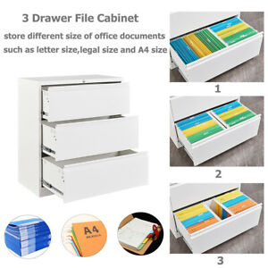 Metal File Cabinet 3 Drawer Home Office Lateral Filing Steel Storage W Lockable