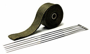 Titanium Header Wrap Lava Heat Wrap 25 Ft X 2 Wide W 5 Free Metal Zip Ties
