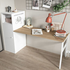 L shaped Computer Desk Pc Laptop Table W storage Cupboard Cabinet Home Office