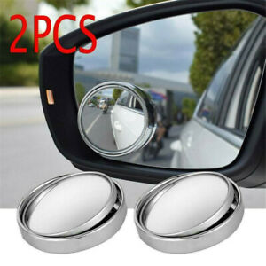 2x Round Car Blind Spot Rear View Mirrors Wide Angle Convex Rearview Mirror 2