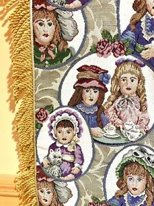 Beautiful Victorian Little Girls Tea Party Damask Fringed Tapestry Throw Blanket