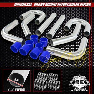 Universal 8pc 2 5 Aluminum Fmic Intercooler Piping Silicone Hose t clamp Silver