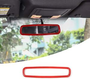Red Inner Rearview Mirror Trim Ring Frame Cover For Ford F150 Mustang 2009 2020