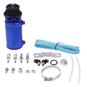 Oil Catch Can Baffled Breather Petrol Diesel Turbo Tank Reservoir Filter Blue