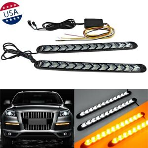 9 Led Amber White Switchback Flowing Strip Car Arrow Flasher Turn Signal Light 2