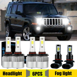 For 2006 2010 Jeep Commander 6x Led Headlights Hi Lo Fog Lights Bulbs Combo