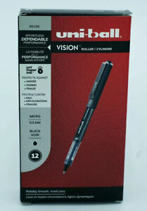 Uni ball Vision Roller Pens 60106 Micro 0 5mm Black Ink new In Box 12 Pens