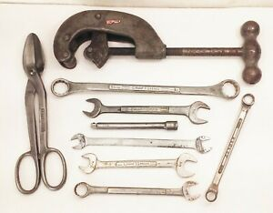 Vtg Craftsman Heritage Pipe Cutter End Wrench Metal Shears Tool Lot Usa