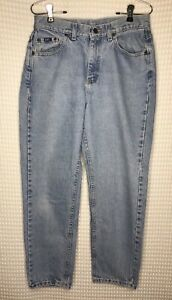 Vintage Lee 12 Petite Light Blue Denim High Waist Tapered Mom Jeans Union Made $45.00