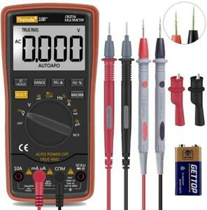 Auto Ranging Digital Multimeter Trms 6000 Battery Alligator Clips Test Leads Ac