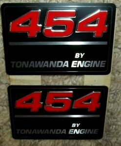 2 Nos 454 Cubic Inch Tonawanda Engine Valve Cover Decal Free Shipping