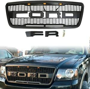 Grille Ford F150 2004 2008 Raptor Style Black Grill W 3 Led F R Letters
