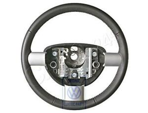 Genuine Vw Beetle Bettle New Steering Wheel Leather Black white 1c0419091dcyxx