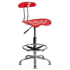 Flash Furniture Vibrant Drafting Stools With Tractor Seat Lf215chytomato