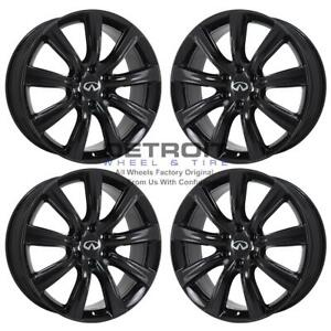 22 Infiniti Qx80 Gloss Black Exchange Wheels Rims Factory Oem 73729 2014 2019