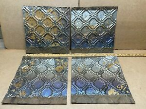 4 Pc Lot 12 X 12 Antique Ceiling Tin Metal Reclaimed Salvage Art Craft