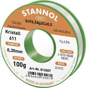 Solder Wire With Flux Lead Free Alloy Sn96 5ag3cu0 5 0 3mm Stannol 100g Reel