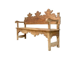 Spanish Colonial Revival Hall Bench Circa 1930 Solid Hand Carved Wood