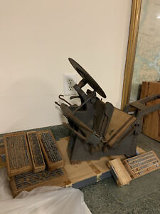 Kelsey Excelsior Cast Iron Printing Press Letterpress Lead Letters Drawers