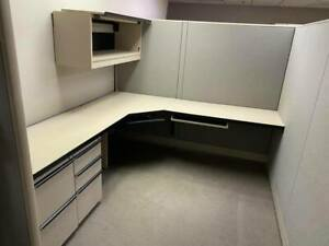 Huge Lot Office Furniture And Equipment Cubicles Safe Tech Rack Printers Ect